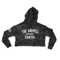 Camo Crop Hoodie - The Barbell Cartel , Weightlifting, wrist wraps, booty shorts, mesh leggings, weight belt, Board shorts