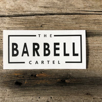 The Barbell Cartel rectangle sticker ( White ) - The Barbell Cartel , Weightlifting, wrist wraps, booty shorts, mesh leggings, weight belt, Board shorts