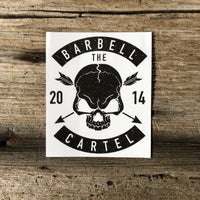 Skull & Arrow 3x4 sticker ( White ) - The Barbell Cartel , Weightlifting, wrist wraps, booty shorts, mesh leggings, weight belt, Board shorts