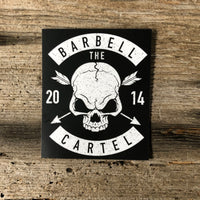Skull & Arrow 3x4 sticker ( Black ) - The Barbell Cartel , Weightlifting, wrist wraps, booty shorts, mesh leggings, weight belt, Board shorts