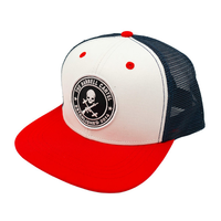 Jolly Roger Snap Back ( Red / White / Blue ) - The Barbell Cartel , Weightlifting, wrist wraps, booty shorts, mesh leggings, weight belt, Board shorts