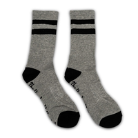 Gray / Black 2 Stripe Crew Sock - The Barbell Cartel , Weightlifting, wrist wraps, booty shorts, mesh leggings, weight belt, Board shorts