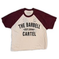 Classic Logo Distressed Baseball Tee ( Maroon / Natural )