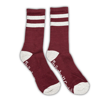 Cranberry / Gray  2 Stripe Crew Sock - The Barbell Cartel , Weightlifting, wrist wraps, booty shorts, mesh leggings, weight belt, Board shorts