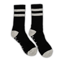 Black / Gray 2 Stripe Crew Sock