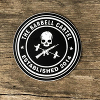 4x4 Circle Logo Sticker - The Barbell Cartel , Weightlifting, wrist wraps, booty shorts, mesh leggings, weight belt, Board shorts