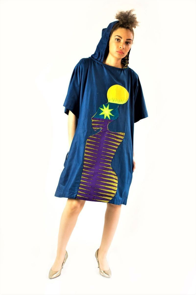 Blue African print hood unisex tunic dress - SOSOME