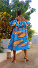Load image into Gallery viewer, Abigail Ankara dress off shoulder flared African print dress - SOSOME