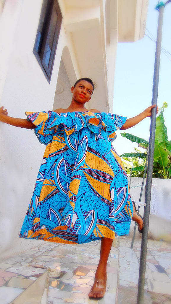 Abigail Ankara dress off shoulder flared African print dress - SOSOME