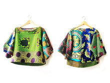 Load image into Gallery viewer, women's Kimono style Green Crop African print top - SOSOME