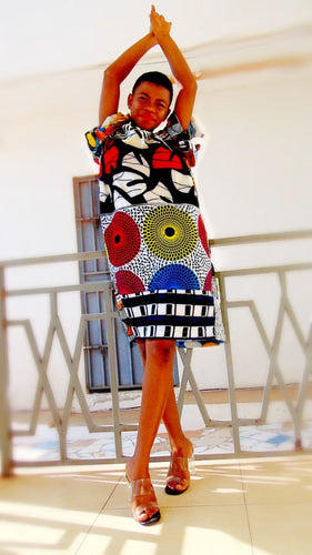 African print silk midi dress  tunic styles - SOSOME