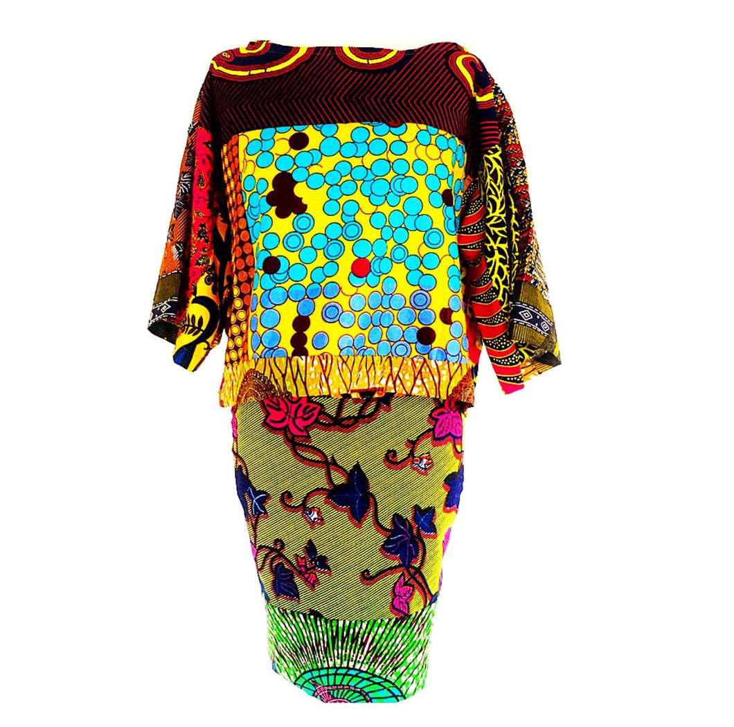 Yellow African print Two piece fashion skirt and top.