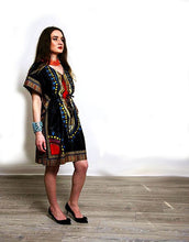 Load image into Gallery viewer, Tunic black Angelina Dashiki African fashion dress.