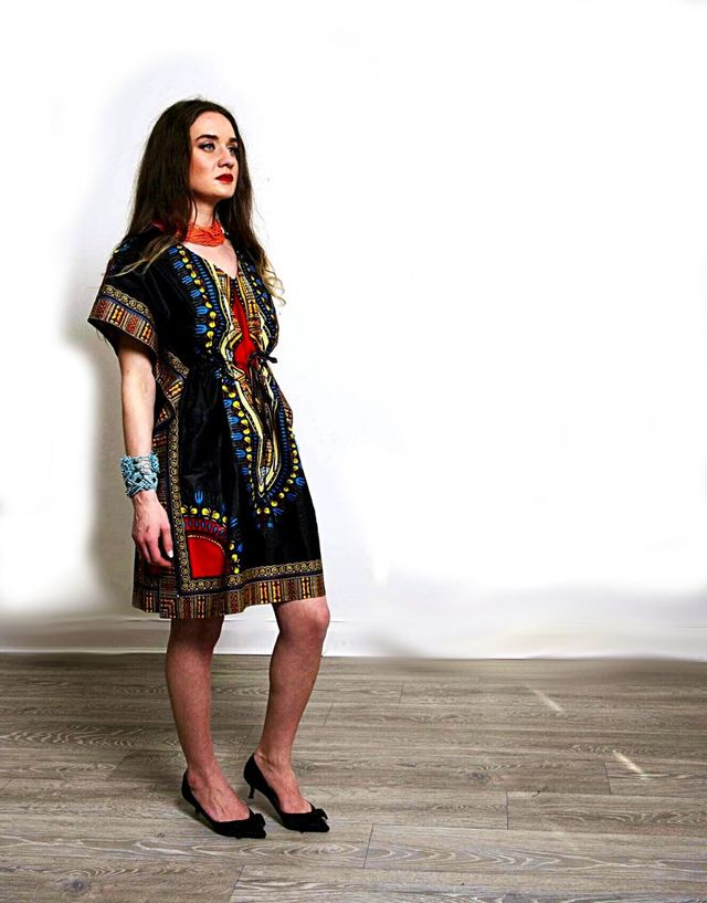 Tunic black Angelina Dashiki African fashion dress.
