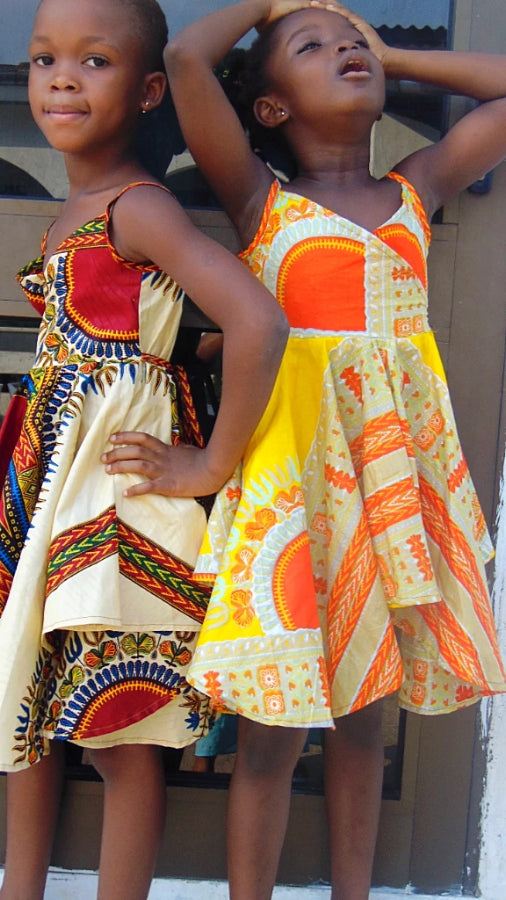 Ballerina Girls Yellow African print dress age 2-3 years - SOSOME