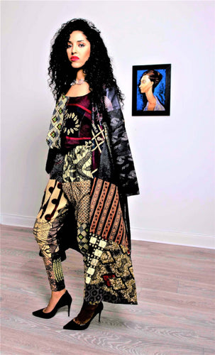 Paula Black Brown modern long African Ankara print coat.