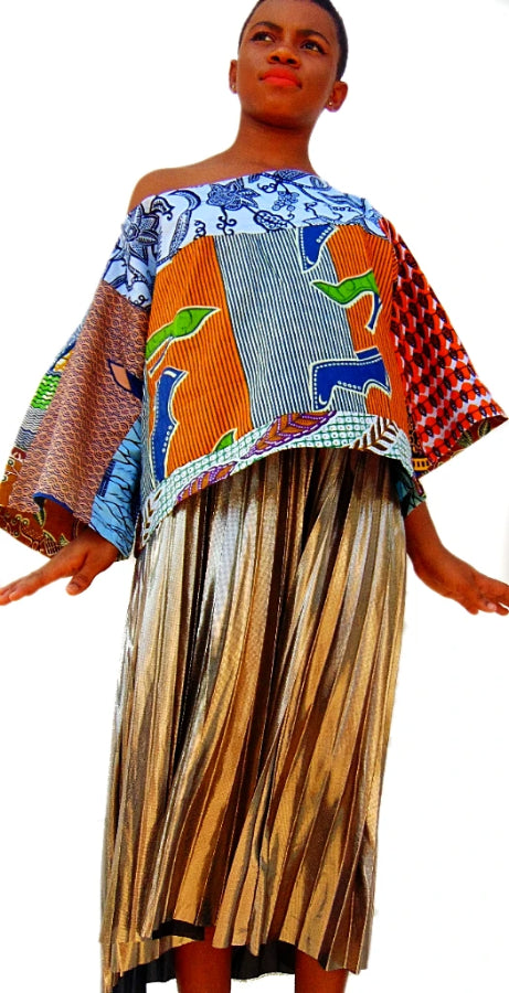 Blue Crop African print top - SOSOME