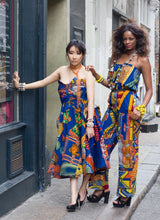 Load image into Gallery viewer, Zara blue African print fit flare bandeau gown dress - SOSOME