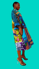 Load image into Gallery viewer, Carla African print dress Green Tunic Ankara - SOSOME