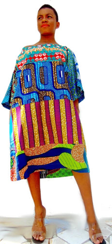 Carla African print dress Green Tunic Ankara - SOSOME