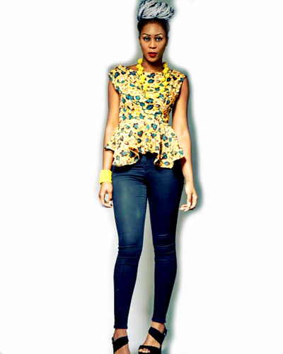 Charlie pink high low peplum  African print top.
