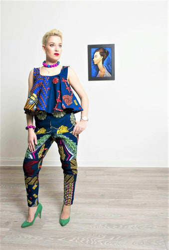 Desire women's slim fit blue high waist African print trouser.