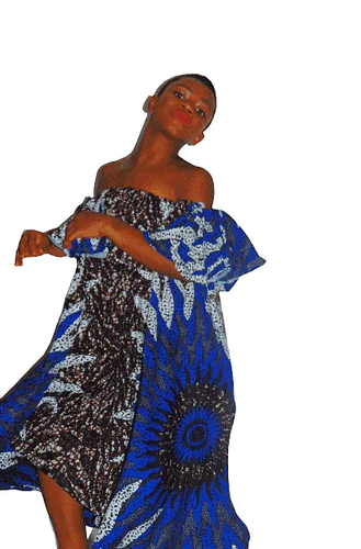 Fire works Abigail Ankara dress off shoulder flared African print dress - SOSOME