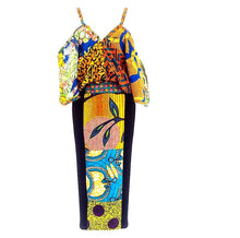 Load image into Gallery viewer, Jersey Dress, Black Yellow mix stretch African print dress - SOSOME