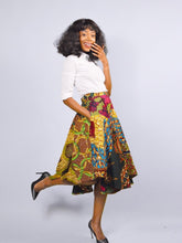 Load image into Gallery viewer, Audrey  Green high low African print maxi skirt.