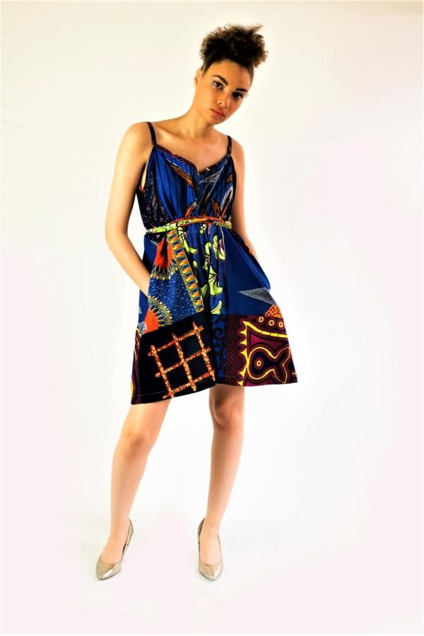 African print Blue summer playsuit - SOSOME
