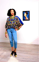 Load image into Gallery viewer, Riri African Print Top Blue chiffon layered rope style - SOSOME