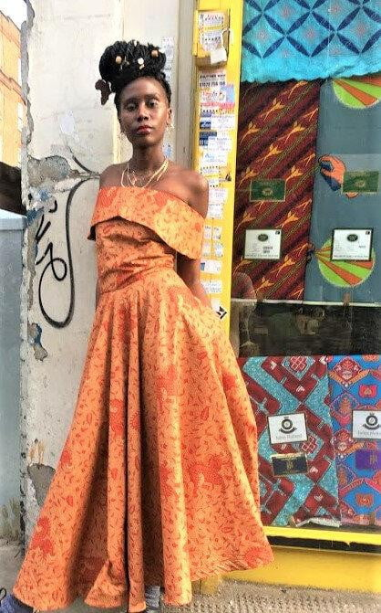 Tyra bardot off shoulder Maxi African print dress - SOSOME