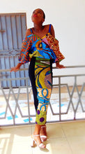 Load image into Gallery viewer, Jersey Dress, Black Yellow stretch African print dress