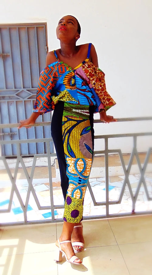 Jersey Dress, Black Yellow stretch African print dress