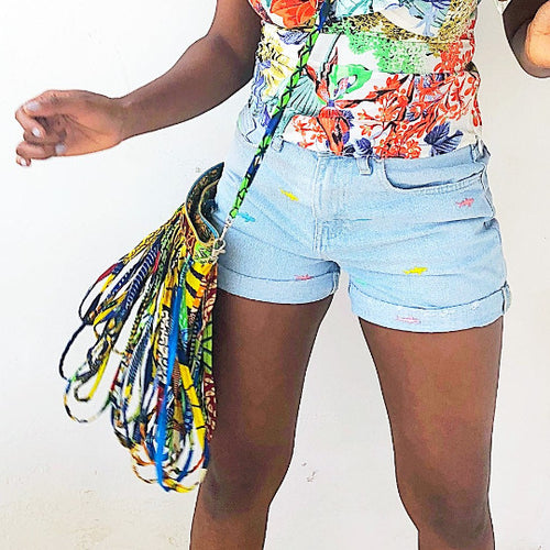 Rainbow tassel African print  fringe shoulder bag.