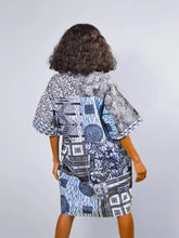 Load image into Gallery viewer, Carla African grey  LT Blue print Tunic Ankara dress.