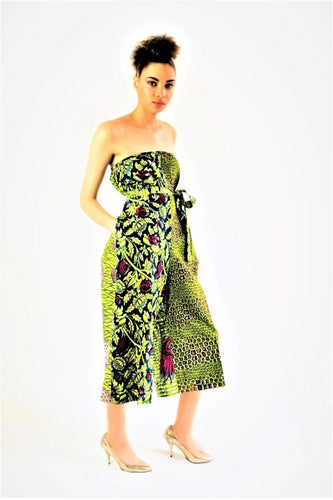 Bebe African print flare green Jumpsuit.