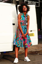 Load image into Gallery viewer, Blue African print wrap dress Ankara.
