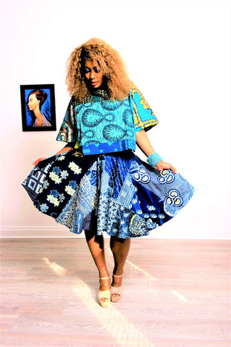 Poppy  High midi circle Skirt African print blue skirt.