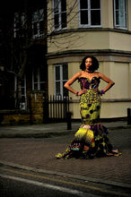 Load image into Gallery viewer, Clarisa modern African print yellow wedding gown dress - SOSOME