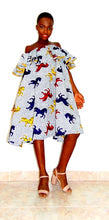 Load image into Gallery viewer, Horse Abigail Ankara dress off shoulder flared white African print dress - SOSOME