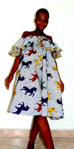 Horse Abigail Ankara dress off shoulder flared white African print dress - SOSOME
