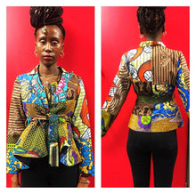 Load image into Gallery viewer, Marni crop belted  African print Ankara Jacket - SOSOME