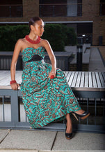 Load image into Gallery viewer, Flashback Blue black Maxi African print - SOSOME