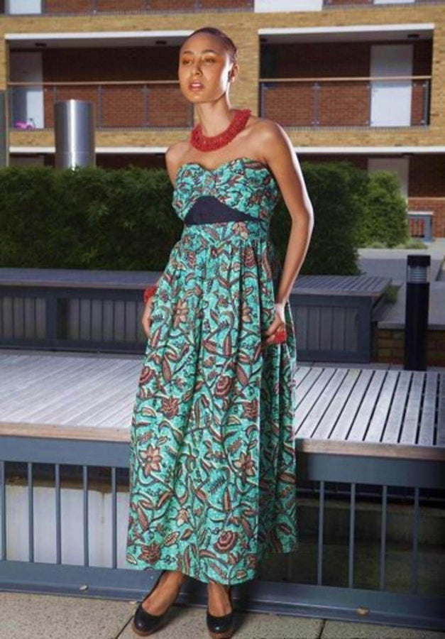 Flashback Blue black Maxi African print - SOSOME