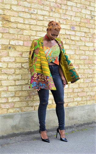 Kira women's green African fashion blazer.