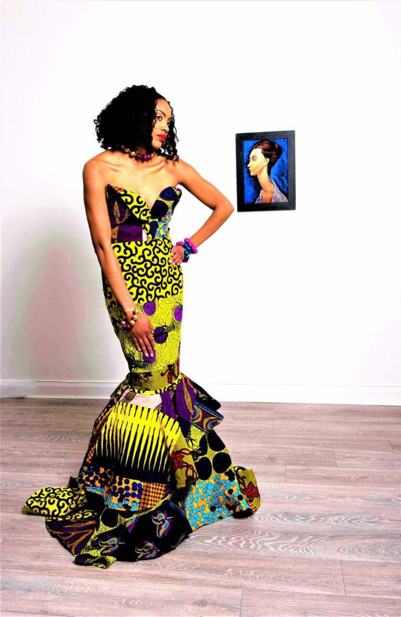 Clarisa modern African print yellow wedding gown dress - SOSOME