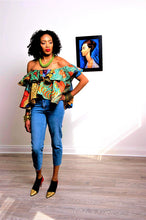 Load image into Gallery viewer, Lia off shoulder top Gold African print.