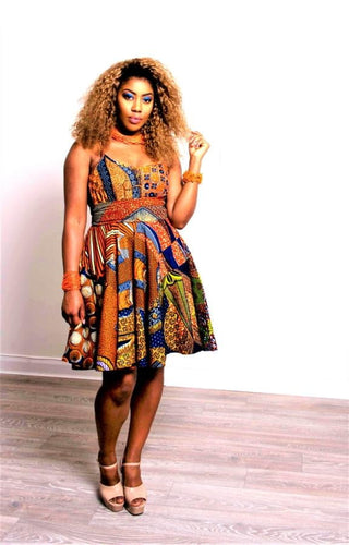 Poppy  High midi circle Skirt African print orange skirt - SOSOME