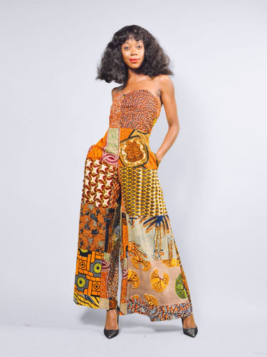 Ava fit and flare orange African mix print jumpsuit.